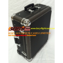 Black Cheap Aluminum Cosmetic Train Kit Case with Wheel