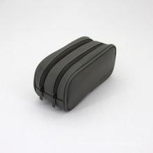 Saffiano Vegan Leather Custom Embossing Logo Double Layer Zipper Portable Travel Men Toiletries Bag