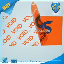 Vazio aberto Etiqueta de não transferência etiqueta adesivo etiqueta de segurança adesivo para proteger o bem