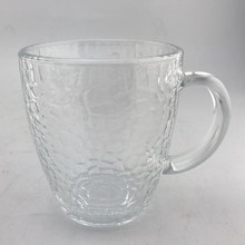 Clear Hammer  Pattern Glass Cup With Handle