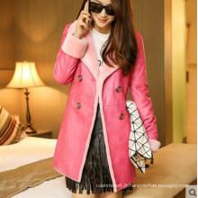 Manteau en peau de mouton et cuir d'agneau rose Fashion Lady