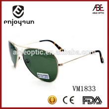 Lunettes de soleil en métal à double pont en couleur vert foncé avec UV400