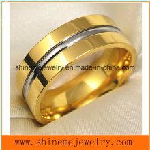 Shineme Schmucksache-Art und Weise und Qualitäts-Gold überzogener Titan-Finger-Ring (TR1842)