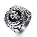 Fashion skull signet finger ring with crystal