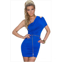 Oblique Shoulder New Fashion Sexy Lady Folds Summer Dress for Party Girls