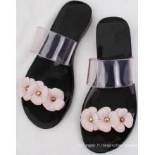 Sandales sexy noires / PVC cristal / gelée chaussures pour les dames