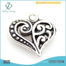 Hot new alloy love heart charm, custom silver metal charm