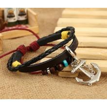 2015 моды браслет из натуральной кожи, многослойный кожаный браслет