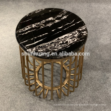 New design stainless steel side table gold color coffee table with marble top