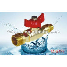 mini copper valve with flare and male ends with butterfly handles