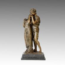 Classical Figure Bronze Sculpture Lovers Home Decor Brass Statue TPE-035