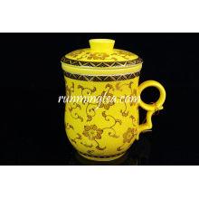 Taza de té de cerámica de maravilla amarillo con inserción de filtro-300ml