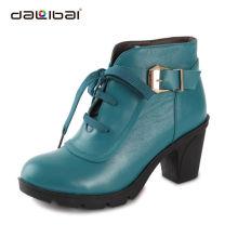 Senhoras de couro de salto alto de borracha grossa sola segurança botas sapatos