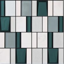 Carreaux de mur en céramique de mosaïque de verre d'art géométrique de cuisine