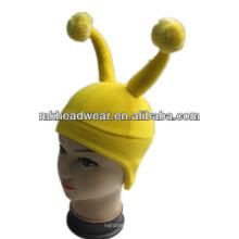 Желтая забавная флисовая шляпа с рогами