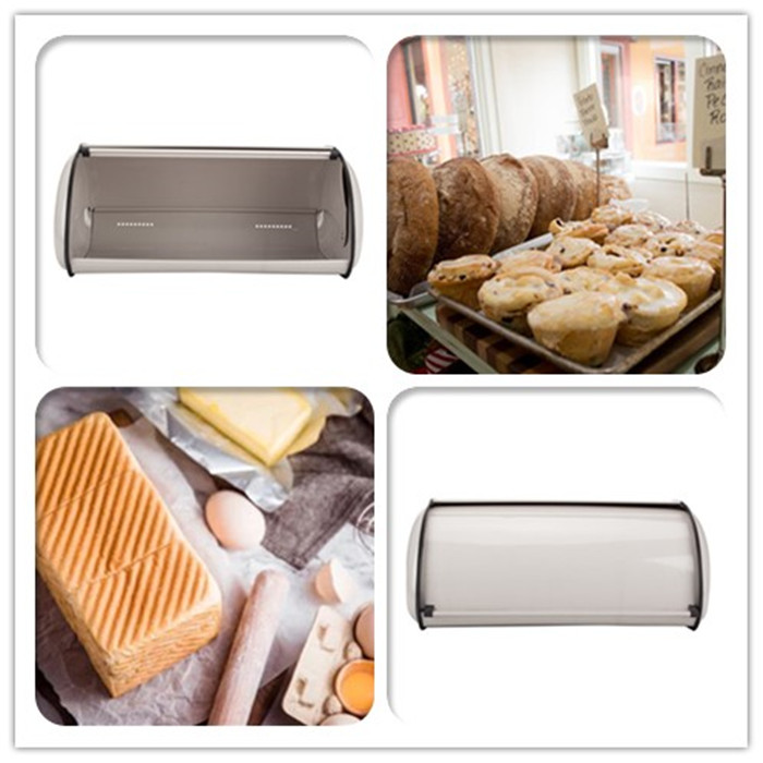 Roll Top Bread Bin Stainless Steel
