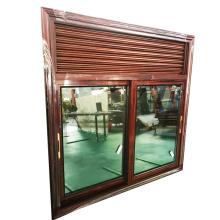 Powder coated aluminium framed wooden grain jalousie window wood louver door