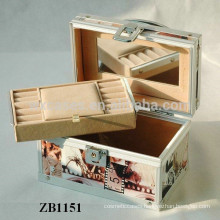New arrival aluminum jewellery box with leather skin and a removable tray inside