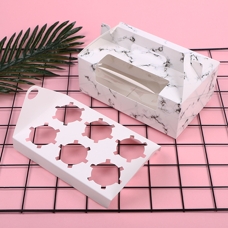 Marble pattern cupcake box design with handle