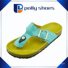 Women′s Cork Slippers Beach Wood Flip Flop Sandals