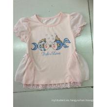 Vestido lindo de la camiseta del bebé en la ropa de los niños con la tela neta (SGT-001)
