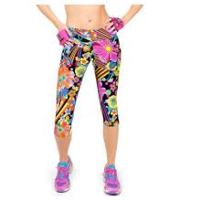 Womens alta cintura Fitness impresso estiramento Cropped Leggings (50041)