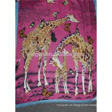 Viscosa rayon jirafa animal impreso larga bufanda grande con flecos