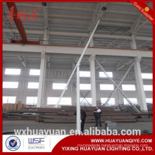 Round tapered hinged or folding hot dip galvanized steel road lighting pole and outdoor lamp post