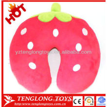 Hot sale Lovely cute strawberry travel soft plush neck pillow