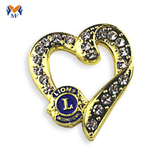 Heart shape gold metal bag badge