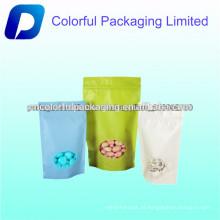 Promocional Ziplock stand up plástico saco de embalagem de porcas com janela clara