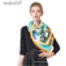 Multi-color lenço de tamanho grande mulheres China lenço de cetim de seda pura