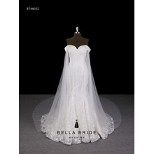 V back spaghetti strap long sleeve wedding dress sweetheart neckline wedding dress
