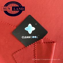 Tissu 100% polyester antibactérien ajusté à sec en maille simple jersey