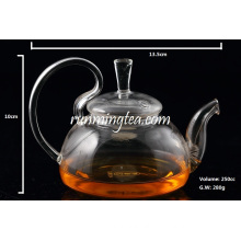 High quality Borosilicate Rose Glass Tea Pot with Stainless Steel Insert Spout