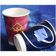 Tasses de papier épaississantes jetables de vide de 12oz doubles, tasse creuse de boisson