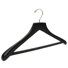 Black luxury wooden hotel coat hanger with anti-slip rubber strip