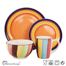 16PCS Ceramic Dinner Set with Full Color Hand Painted Design