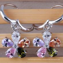 Silver Cubic Zirconia Crystal Diamond Dangle Gold Earrings