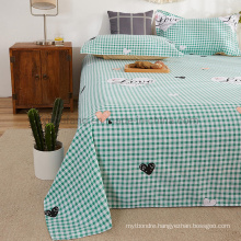 Factory Bed Sheet Set Fashion Style Cotton Brushed Fabric Cyan Plaid Double Bed Linen