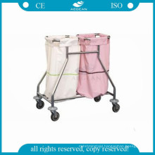 AG-SS019 Stainless steel clothes hospital linen trolley with four wheels