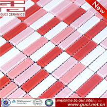 сделано в Китае розовый смешанный кристалл стеклянная мозаика плитка для спальни дизайн