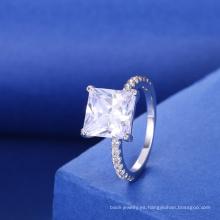accesorios de lujo de las señoras anillos de piedras preciosas cuadrado anillos de compromiso modelo