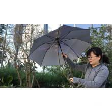 Beste Wahl silberbeschichteter Stoff Anti-UV-Block gelb Großhandel gerader Griff Regenschirm für den Sommertag