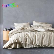 Feuille plate 4pcs 100% lin pur lin ensemble de literie couvre-lit