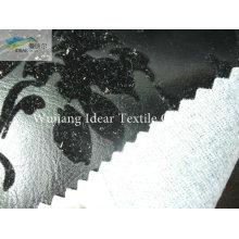 Brillante plata congregación realzada PU cuero tela de cuero tela/Faux de la PU
