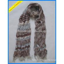 Men's yarn dyed crumple stripe scarf polyester