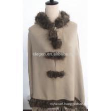 Acrylic Plain Color Poncho with Fur