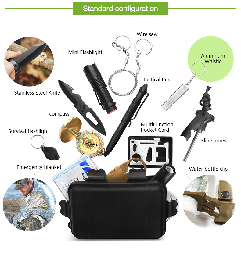 Outdoor Survival Kit Camping With Water Filter Straw