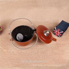 Caldera de té caliente del esmalte de la manija del acero inoxidable de la venta